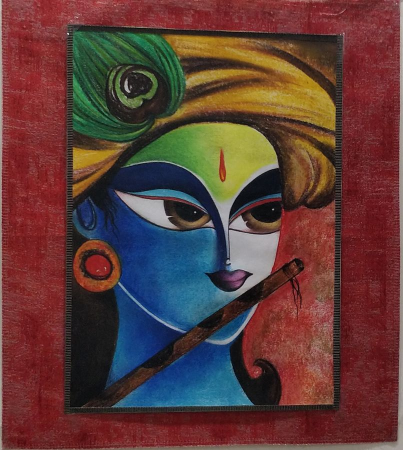positive vibes of krishna, 12 x 16 inch, anjali garg,12x16inch,cartridge paper,paintings,figurative paintings,modern art paintings,conceptual paintings,religious paintings,portrait paintings,abstract expressionism paintings,radha krishna paintings,paintings for dining room,paintings for living room,paintings for office,paintings for hotel,paintings for hospital,mixed media,pastel color,pencil color,GAL02326235550