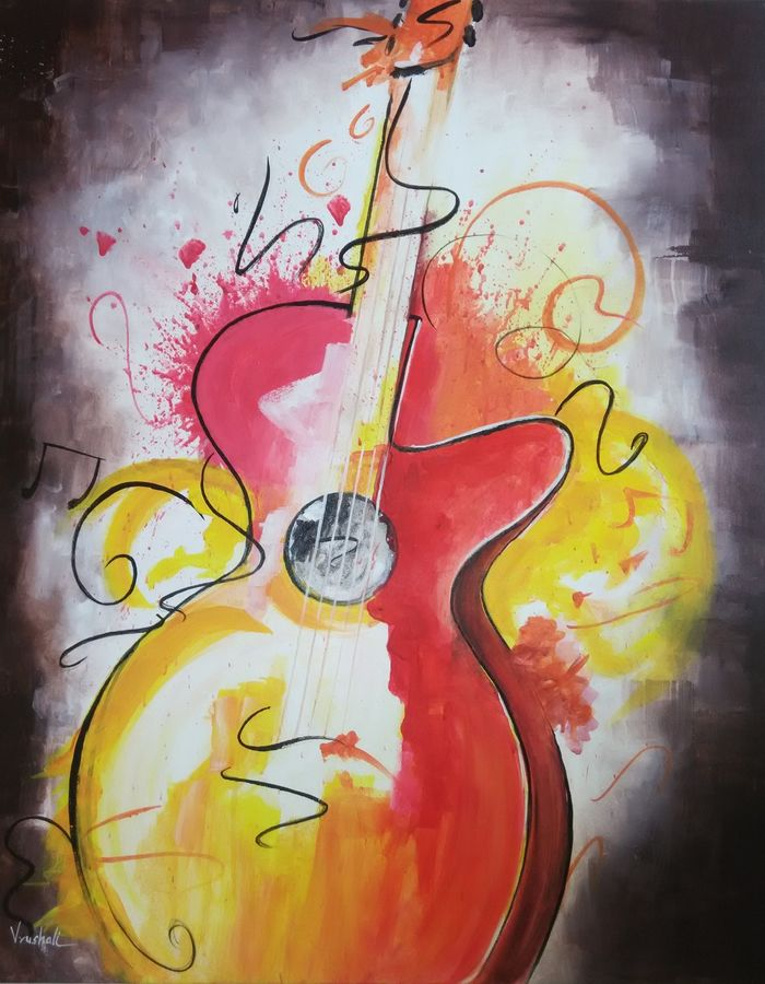 guitar - original canvas, 30 x 24 inch, vrushali kamthe,abstract paintings,paintings for living room,canvas,acrylic color,30x24inch,GAL013043556
