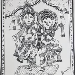 kalamkari , 8 x 10 inch, swarnaa agarwal,8x10inch,cartridge paper,figurative drawings,folk drawings,radha krishna drawings,ink color,pen color,GAL02402335562