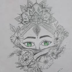 green eye, 8 x 11 inch, swarnaa agarwal,8x11inch,paper,drawings,expressionism drawings,pencil color,graphite pencil,GAL02402335564