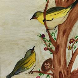 chirping birds, 12 x 16 inch, amita sharma,12x16inch,thick paper,paintings,wildlife paintings,paintings for dining room,paintings for living room,paintings for hotel,paintings for dining room,paintings for living room,paintings for hotel,watercolor,GAL02411735567