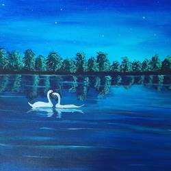 swan under moonlight, 16 x 12 inch, pooja katharotia,16x12inch,canvas,paintings,landscape paintings,nature paintings | scenery paintings,animal paintings,love paintings,paintings for living room,paintings for bedroom,paintings for office,paintings for hotel,acrylic color,GAL02340535572