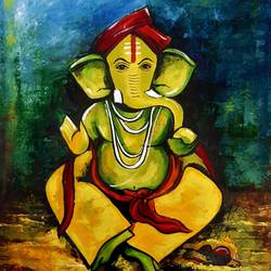 ganesha, 19 x 23 inch, revathi  nandana,19x23inch,paper,abstract paintings,religious paintings,acrylic color,oil color,GAL02416035580