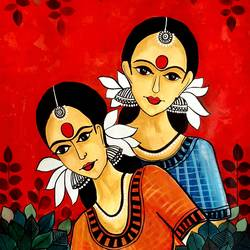tribal ladies in the woods, 22 x 28 inch, revathi  nandana,22x28inch,paper,paintings,abstract paintings,figurative paintings,folk art paintings,modern art paintings,still life paintings,paintings for dining room,paintings for living room,paintings for bedroom,paintings for office,paintings for bathroom,paintings for kids room,paintings for hotel,paintings for kitchen,paintings for school,paintings for hospital,acrylic color,GAL02416035585