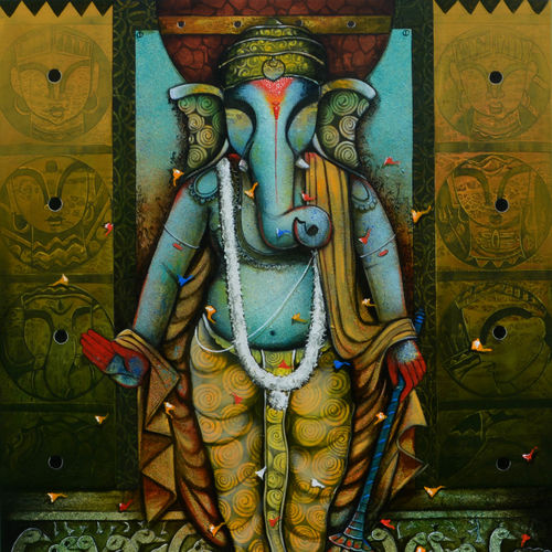 ganesha 21, 48 x 60 inch, anupam  pal,48x60inch,canvas,paintings,ganesha paintings | lord ganesh paintings,paintings for dining room,paintings for living room,paintings for bedroom,paintings for office,paintings for bathroom,paintings for kids room,paintings for hotel,paintings for kitchen,paintings for school,paintings for hospital,acrylic color,GAL08235587