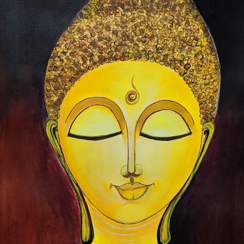 lord buddha, 16 x 11 inch, promila singh,16x11inch,thick paper,buddha paintings,paintings for living room,paintings for living room,acrylic color,GAL0823235589