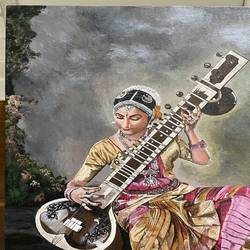 lady with veena, 18 x 24 inch, anshul  agrawal ,18x24inch,canvas,folk art paintings,abstract expressionism paintings,realism paintings,paintings for living room,paintings for office,paintings for hotel,paintings for school,paintings for hospital,paintings for living room,paintings for office,paintings for hotel,paintings for school,paintings for hospital,acrylic color,GAL01997235591