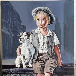 dog with best friend, 18 x 24 inch, anshul  agrawal ,18x24inch,canvas,paintings,dog painting,children paintings,paintings for dining room,paintings for living room,paintings for bedroom,paintings for office,paintings for kids room,paintings for hotel,paintings for school,paintings for hospital,acrylic color,GAL01997235593