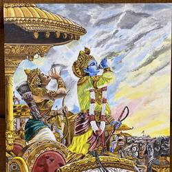 arjun krishna , 18 x 24 inch, anshul  agrawal ,18x24inch,canvas,paintings,religious paintings,paintings for dining room,paintings for living room,paintings for bedroom,paintings for office,paintings for hotel,paintings for school,paintings for hospital,acrylic color,GAL01997235594