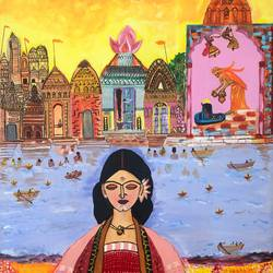 devabhumi, 24 x 30 inch, madhu dhir,24x30inch,canvas,paintings,religious paintings,acrylic color,oil color,GAL02049135595