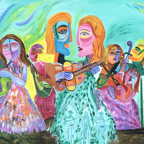 music is the essence of life, 48 x 36 inch, madhu dhir,48x36inch,canvas,figurative paintings,modern art paintings,acrylic color,GAL02049135596
