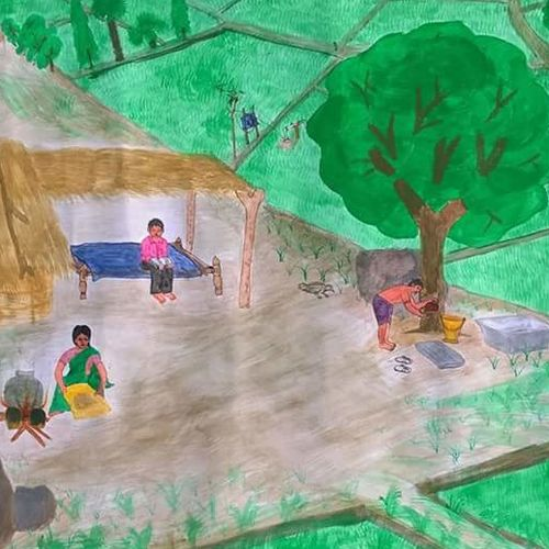 farmer/village life, 18 x 24 inch, karantothu rameshbabu,nature paintings,paintings for living room,thick paper,watercolor,18x24inch,GAL0151356Nature,environment,Beauty,scenery,greenery