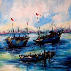 the blue boat, 21 x 29 inch, revathi  nandana,21x29inch,paper,paintings,abstract paintings,landscape paintings,modern art paintings,still life paintings,nature paintings | scenery paintings,realistic paintings,paintings for dining room,paintings for living room,paintings for bedroom,paintings for office,paintings for bathroom,paintings for kids room,paintings for hotel,paintings for kitchen,paintings for school,paintings for hospital,acrylic color,GAL02416035607