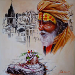 benaras ghat 2, 24 x 24 inch, subir kumar,religious paintings,paintings for living room,canvas,acrylic color,24x24inch,GAL013063561