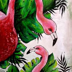 flamingos, 21 x 29 inch, revathi  nandana,21x29inch,paper,paintings,abstract paintings,wildlife paintings,landscape paintings,modern art paintings,still life paintings,nature paintings | scenery paintings,realism paintings,animal paintings,paintings for dining room,paintings for living room,paintings for bedroom,paintings for office,paintings for bathroom,paintings for kids room,paintings for hotel,paintings for kitchen,paintings for school,paintings for hospital,acrylic color,GAL02416035610