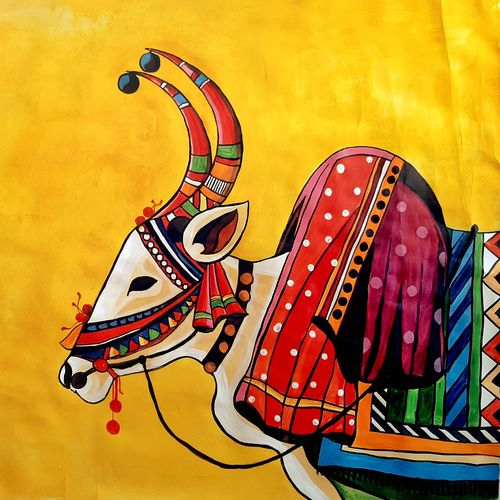 indian ox, 26 x 22 inch, revathi  nandana,26x22inch,paper,paintings,abstract paintings,wildlife paintings,folk art paintings,modern art paintings,conceptual paintings,religious paintings,still life paintings,minimalist paintings,animal paintings,contemporary paintings,paintings for dining room,paintings for living room,paintings for bedroom,paintings for office,paintings for bathroom,paintings for kids room,paintings for hotel,paintings for kitchen,paintings for school,paintings for hospital,acrylic color,oil color,GAL02416035611