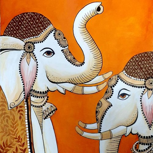 white elephants, 21 x 29 inch, revathi  nandana,21x29inch,paper,paintings,abstract paintings,wildlife paintings,folk art paintings,modern art paintings,conceptual paintings,religious paintings,still life paintings,abstract expressionism paintings,minimalist paintings,animal paintings,contemporary paintings,elephant paintings,paintings for dining room,paintings for living room,paintings for bedroom,paintings for office,paintings for bathroom,paintings for kids room,paintings for hotel,paintings for kitchen,paintings for school,paintings for hospital,acrylic color,GAL02416035619