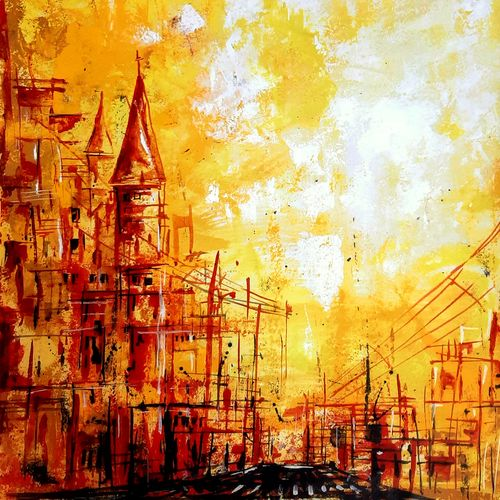 yellow city, 22 x 28 inch, revathi  nandana,22x28inch,paper,paintings,abstract paintings,cityscape paintings,landscape paintings,modern art paintings,conceptual paintings,still life paintings,nature paintings | scenery paintings,abstract expressionism paintings,impressionist paintings,contemporary paintings,paintings for dining room,paintings for living room,paintings for bedroom,paintings for office,paintings for bathroom,paintings for kids room,paintings for hotel,paintings for kitchen,paintings for school,paintings for hospital,acrylic color,GAL02416035621