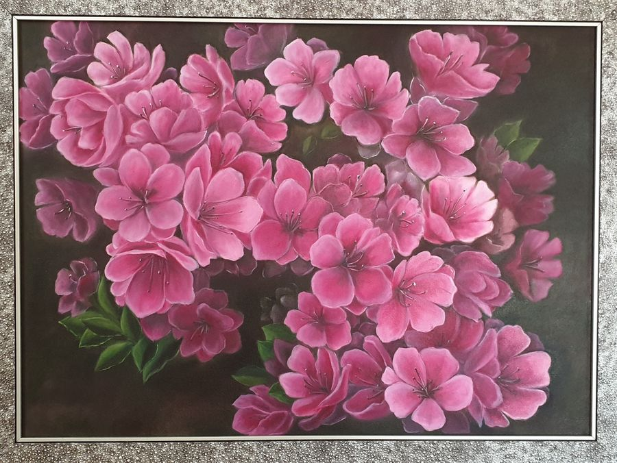 pink flowers, 24 x 32 inch, sameeta bhatia,24x32inch,canvas,paintings,flower paintings,still life paintings,nature paintings | scenery paintings,realism paintings,realistic paintings,paintings for dining room,paintings for living room,paintings for bedroom,paintings for office,paintings for bathroom,paintings for kids room,paintings for hotel,paintings for kitchen,paintings for school,paintings for hospital,oil color,GAL01565435635