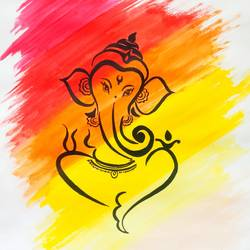 ganesha, 18 x 24 inch, sudipta jha,18x24inch,thick paper,paintings,religious paintings,paintings for living room,poster color,GAL02420235637