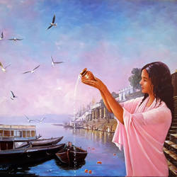 ganga puja, 36 x 24 inch, subir kumar,religious paintings,paintings for dining room,canvas,acrylic color,36x24inch,GAL013063564