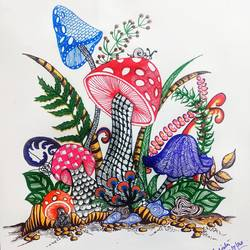 mashroom, 18 x 24 inch, sudipta jha,18x24inch,thick paper,drawings,paintings for dining room,paintings for living room,paintings for bedroom,art deco drawings,paintings for dining room,paintings for living room,paintings for bedroom,pen color,GAL02420235640