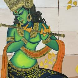 krishna, 3 x 4 inch, puja jhunjhunwala,3x4inch,canvas,modern art paintings,contemporary paintings,acrylic color,GAL02307735645