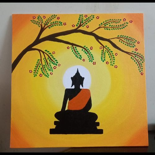 buddha under a tree at night, 12 x 12 inch, mohanjeet baldev kalsi,12x12inch,canvas board,buddha paintings,contemporary paintings,paintings for dining room,paintings for living room,paintings for bedroom,paintings for office,paintings for kids room,paintings for hotel,paintings for school,paintings for hospital,paintings for dining room,paintings for living room,paintings for bedroom,paintings for office,paintings for kids room,paintings for hotel,paintings for school,paintings for hospital,acrylic color,GAL02278535649