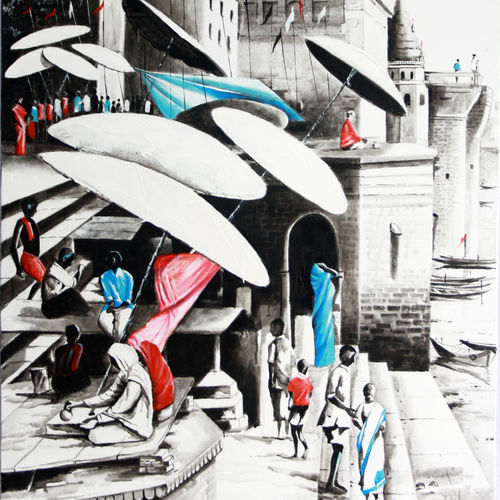 benaras ghat 4, 30 x 50 inch, subir kumar,paintings for living room,religious paintings,canvas,acrylic color,30x50inch,GAL013063565