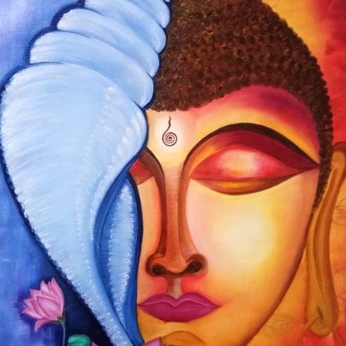 the right turning conch shell of budha ., 29 x 22 inch, shefali  srivastva,29x22inch,canvas,paintings,buddha paintings,paintings for living room,paintings for office,paintings for hotel,paintings for school,paintings for hospital,oil color,GAL02422035650