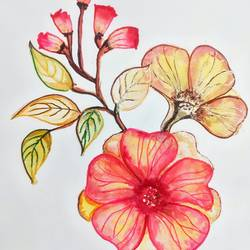 blooming flower, 11 x 17 inch, sudipta jha,11x17inch,thick paper,paintings,nature paintings   scenery paintings,paintings for living room,watercolor,GAL02420235653