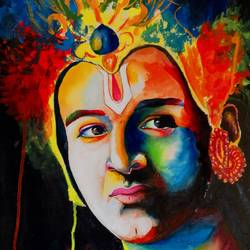 krishna 01  painting by pragga majumder, 22 x 30 inch, shiuli majumder,22x30inch,handmade paper,paintings,abstract paintings,religious paintings,portrait paintings,abstract expressionism paintings,realism paintings,radha krishna paintings,mixed media,GAL01355235654