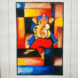 ganesha, 18 x 24 inch, sudipta jha,18x24inch,thick paper,paintings,ganesha paintings | lord ganesh paintings,paintings for living room,paintings for bedroom,poster color,GAL02420235658
