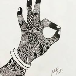 hand, 11 x 17 inch, sudipta jha,11x17inch,thick paper,drawings,art deco drawings,paintings for living room,pen color,GAL02420235659