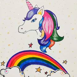 unicorn, 11 x 17 inch, sudipta jha,11x17inch,thick paper,drawings,kids drawings,paintings for dining room,paintings for kids room,pen color,GAL02420235663
