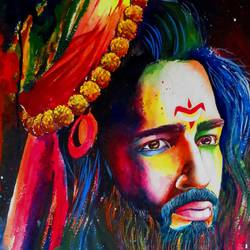 shiva 01 painting by pragga majumder, 22 x 30 inch, shiuli majumder,22x30inch,handmade paper,paintings,abstract paintings,religious paintings,lord shiva paintings,mixed media,GAL01355235666