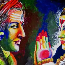 shiv & parbati painting by pragga majumder, 22 x 30 inch, shiuli majumder,22x30inch,handmade paper,paintings,abstract paintings,religious paintings,lord shiva paintings,mixed media,GAL01355235667