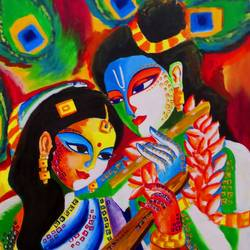 radha & krishna 02  painting by pragga majumder, 32 x 25 inch, shiuli majumder,32x25inch,canvas,paintings,abstract paintings,figurative paintings,religious paintings,radha krishna paintings,paintings for dining room,paintings for living room,paintings for bedroom,paintings for office,paintings for kids room,paintings for hotel,paintings for dining room,paintings for living room,paintings for bedroom,paintings for office,paintings for kids room,paintings for hotel,acrylic color,mixed media,GAL01355235670
