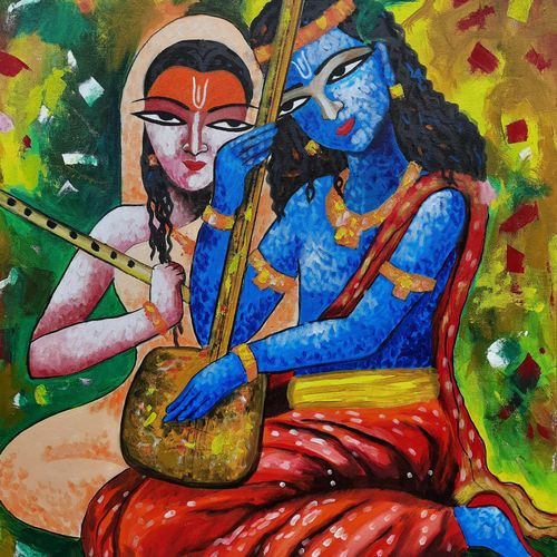 krishna & mira  , 25 x 32 inch, shiuli majumder,25x32inch,canvas,paintings,abstract paintings,religious paintings,radha krishna paintings,paintings for dining room,paintings for living room,paintings for bedroom,paintings for office,paintings for kids room,paintings for hotel,acrylic color,GAL01355235671