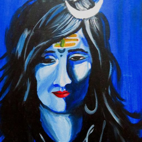shiva 03, 17 x 12 inch, shiuli majumder,17x12inch,canvas,paintings,abstract paintings,religious paintings,lord shiva paintings,paintings for dining room,paintings for living room,paintings for bedroom,paintings for office,paintings for kids room,paintings for hotel,acrylic color,GAL01355235672