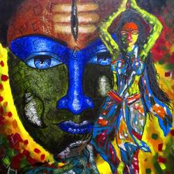 parvati meditation for shiva, 20 x 24 inch, shiuli majumder,20x24inch,canvas,paintings,abstract paintings,religious paintings,lord shiva paintings,paintings for dining room,paintings for living room,paintings for bedroom,paintings for office,paintings for kids room,paintings for hotel,acrylic color,GAL01355235673