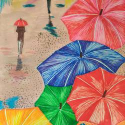 rainy day, 6 x 9 inch, pranoti kirtikar,6x9inch,paper,cityscape paintings,illustration paintings,mixed media,photo ink,watercolor,GAL02312435674