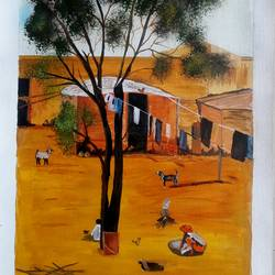 village, 12 x 20 inch, indhuja raghavan,landscape paintings,paintings for living room,canvas,acrylic color,12x20inch,GAL01103568