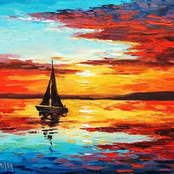 sunset landscape painting, 20 x 14 inch, kiran bhadauria,20x14inch,oil sheet,paintings,landscape paintings,nature paintings | scenery paintings,paintings for living room,paintings for bedroom,paintings for office,paintings for hotel,acrylic color,GAL02426235682