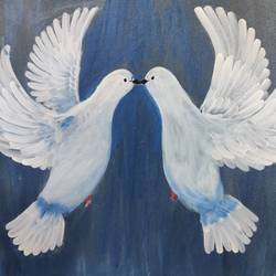 dove pair, 16 x 20 inch, ayushi maheshwari,16x20inch,canvas board,wildlife paintings,portrait paintings,love paintings,acrylic color,GAL02179435686