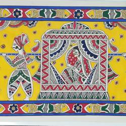 vidai madhubani painting, 30 x 6 inch, kiran bhadauria,30x6inch,thick paper,paintings,folk art paintings,madhubani paintings | madhubani art,paintings for living room,paintings for bedroom,ink color,natural color,GAL02426235688