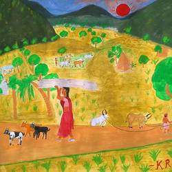 village life , 18 x 24 inch, karantothu rameshbabu,folk art paintings,thick paper,watercolor,18x24inch,GAL0151357