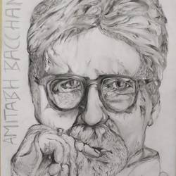 amitabh bacchan, 12 x 17 inch, aditya  gupta,12x17inch,drawing paper,drawings,portrait drawings,charcoal,graphite pencil,paper,GAL02402235706