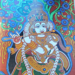 venugopala, 408 x 708 inch, sarans guruvayoor,religious paintings,paintings for dining room,radha krishna paintings,canvas,acrylic color,408x708inch,GAL013113571
