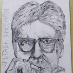 amitabh bacchan -drawing , 12 x 17 inch, aditya  gupta,12x17inch,drawing paper,paintings for living room,portrait drawings,paintings for living room,charcoal,graphite pencil,paper,GAL02402235711